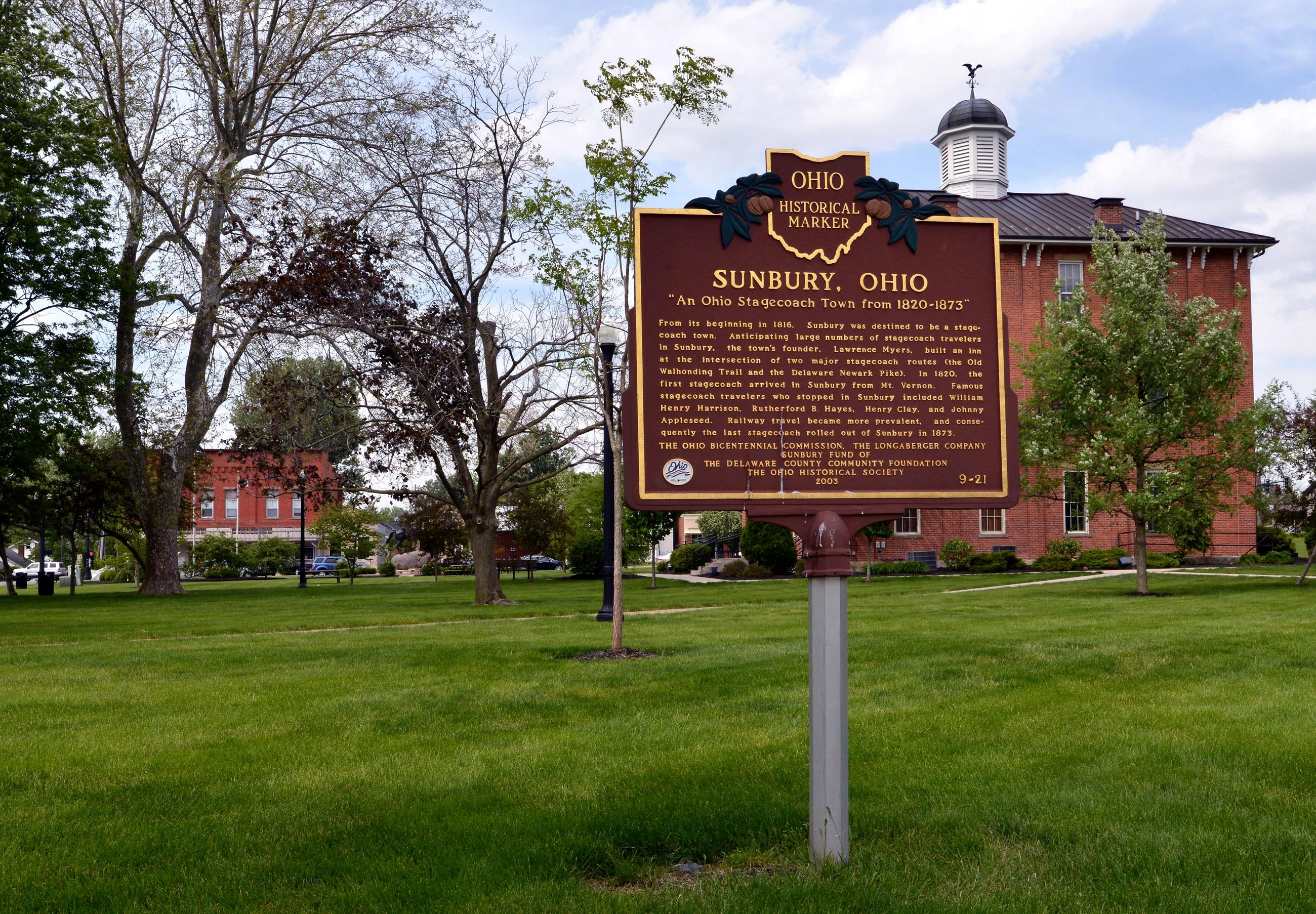 Historical marker outside the Sunbury Town Hall