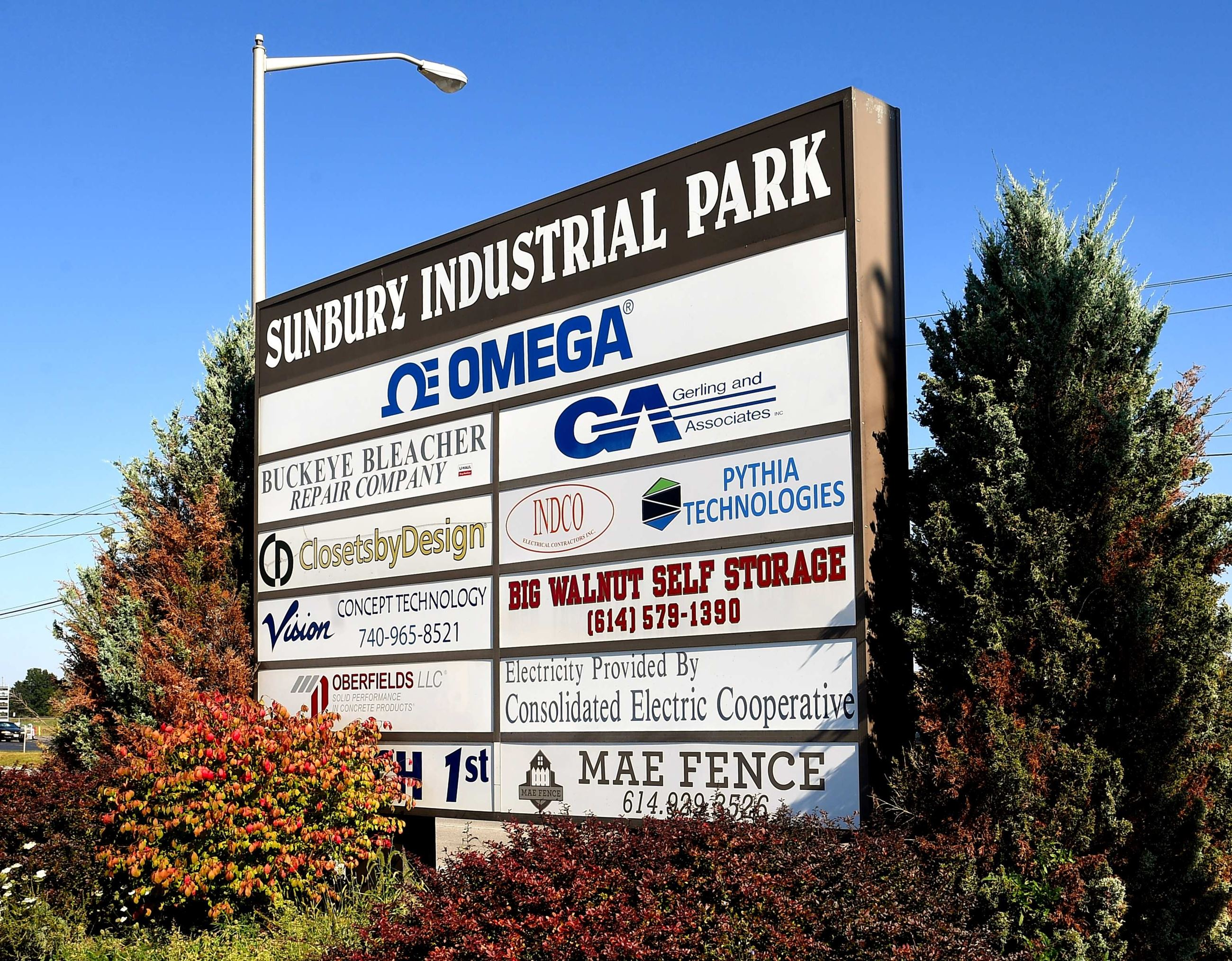 Sunbury Industrial Park Sign with Business Listings