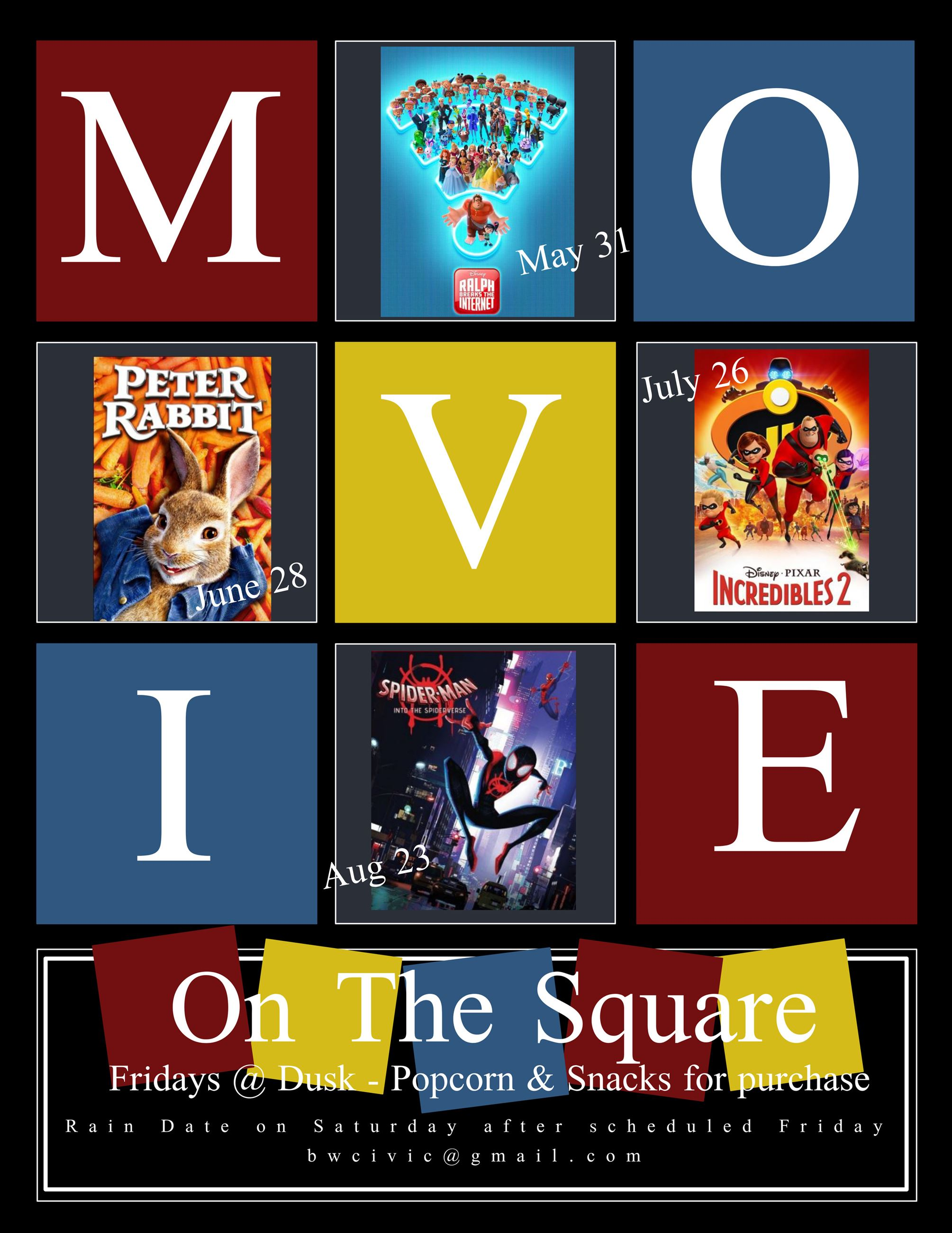 Big Walnut Civic Assn. Movie 2019 Schedule